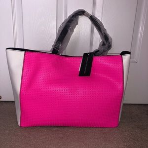 NEW w tags French Connection Pink/Black/White Tote